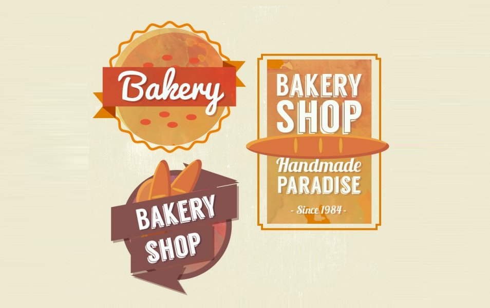 Vintage Cute Bakery Shop Badges