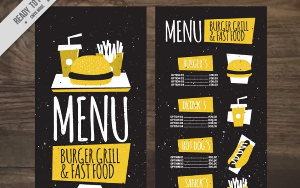 Vintage yellow burguer bar menu