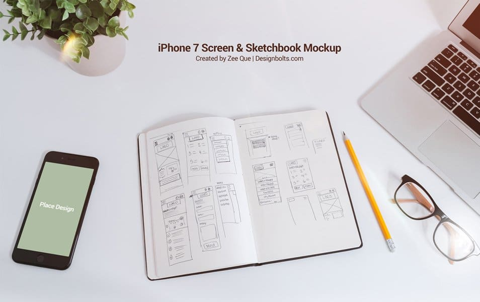 Free Sketchbook & iPhone 7 Mockup PSD for UI Designers