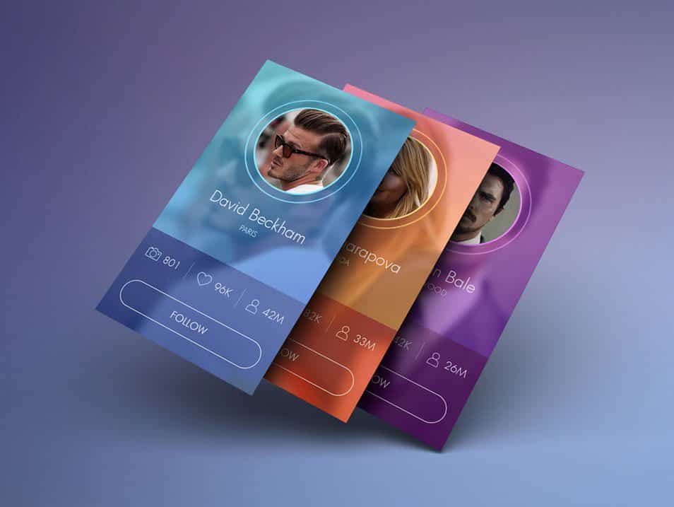 Celebrity profiles iOS mockups