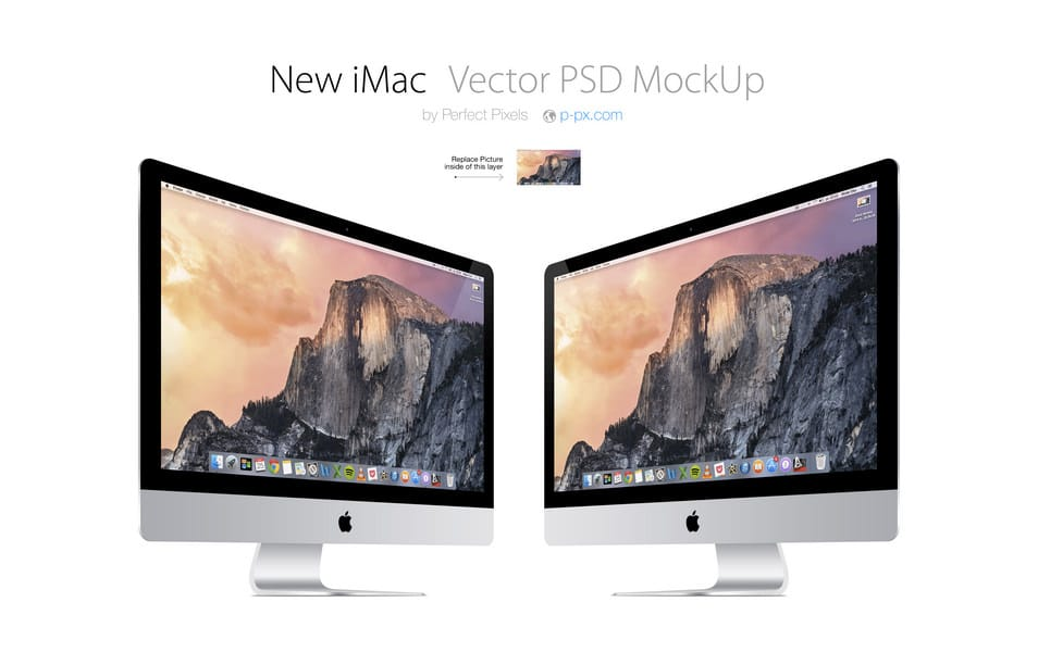 New iMac Vector PSD Mockup