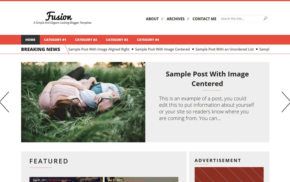 Fusion Responsive Blogger Template