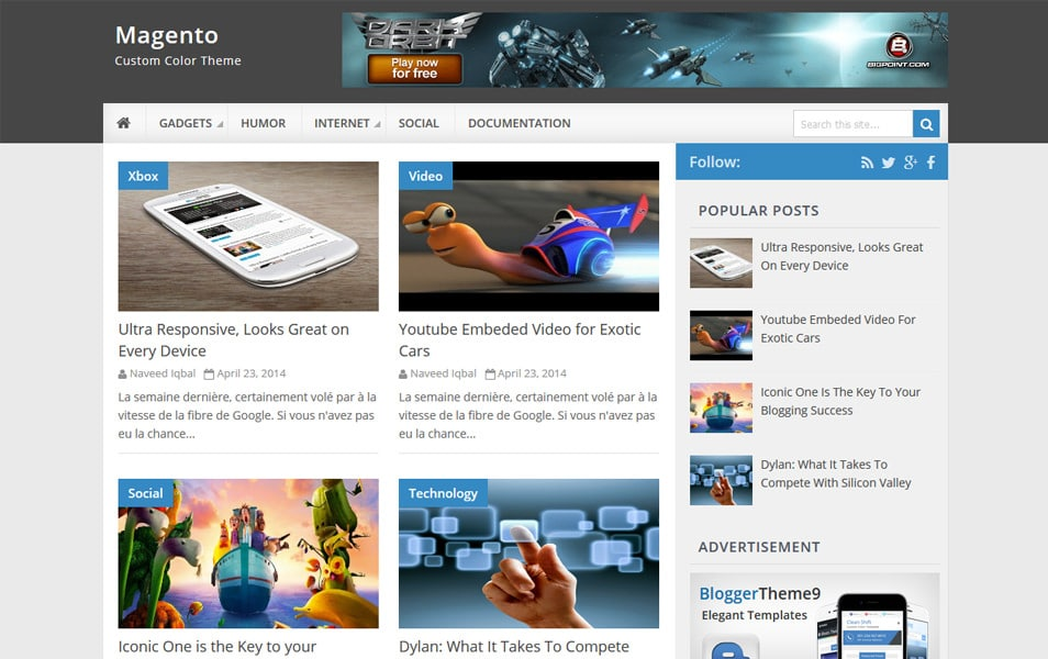 Magento Responsive Blogger Template