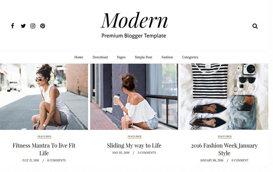 Modern Grid Responsive Blogger Template
