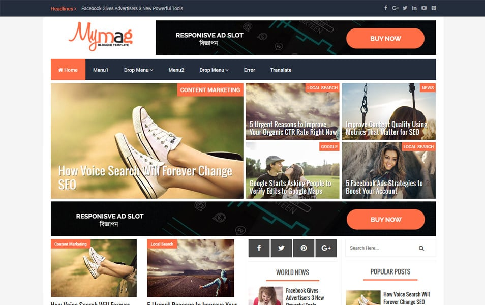 My Mag Responsive Blogger Template