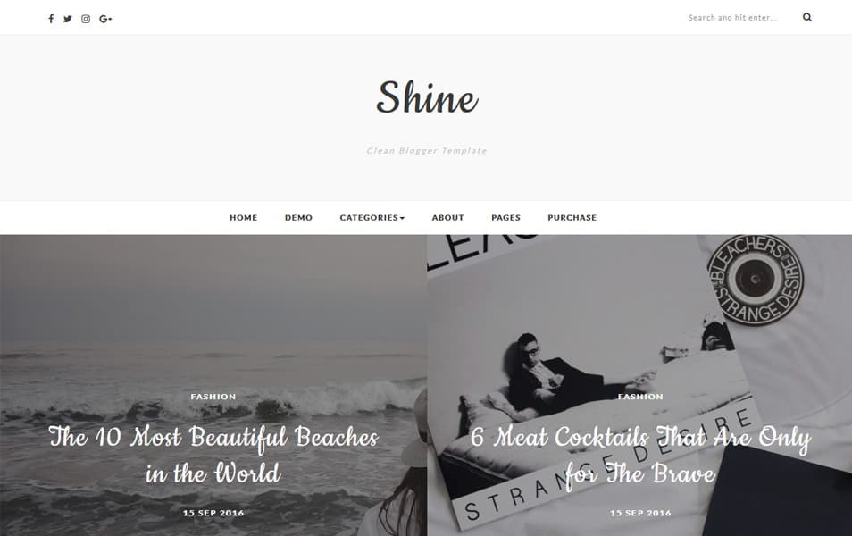 Shine Responsive Blogger Template