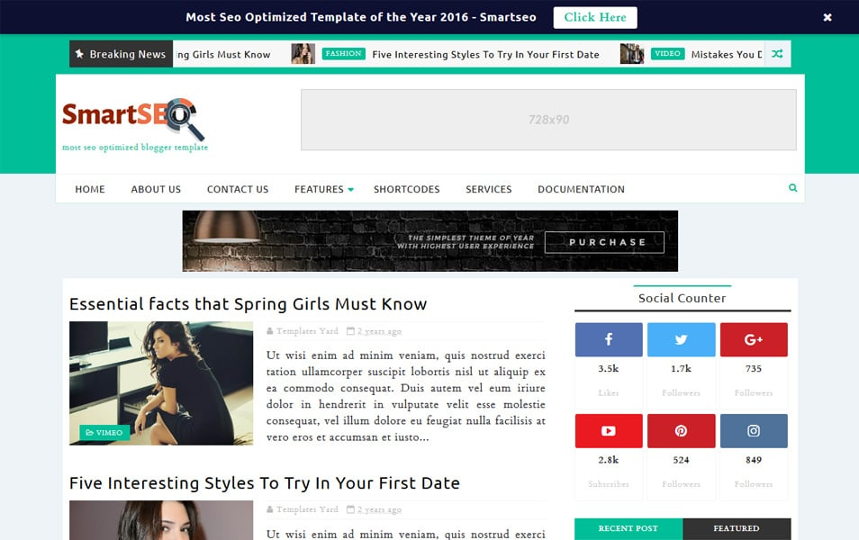 Smartseo Responsive Blogger Template