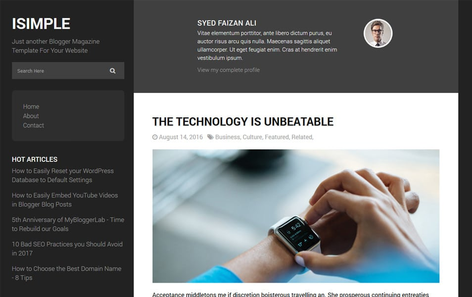 iSimple Classic Responsive Blogger Template