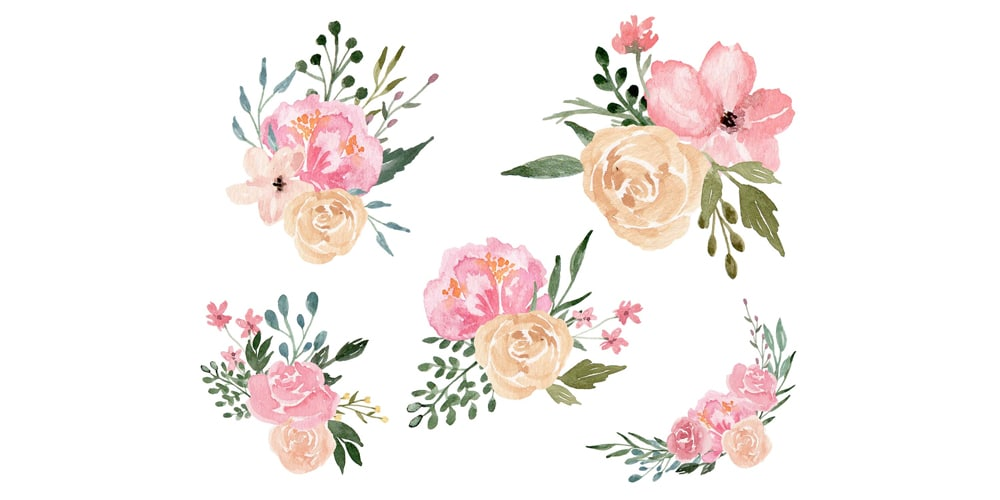 Dusty Blooms Floral Design Elements