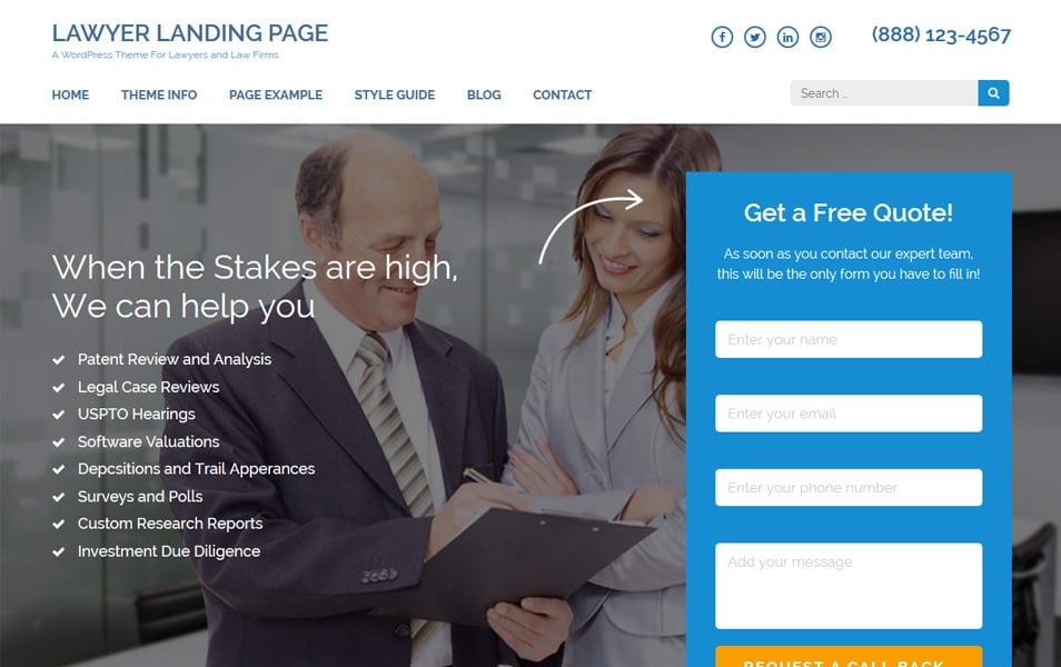 Lawyer Landing Page Responsive WordPress Theme