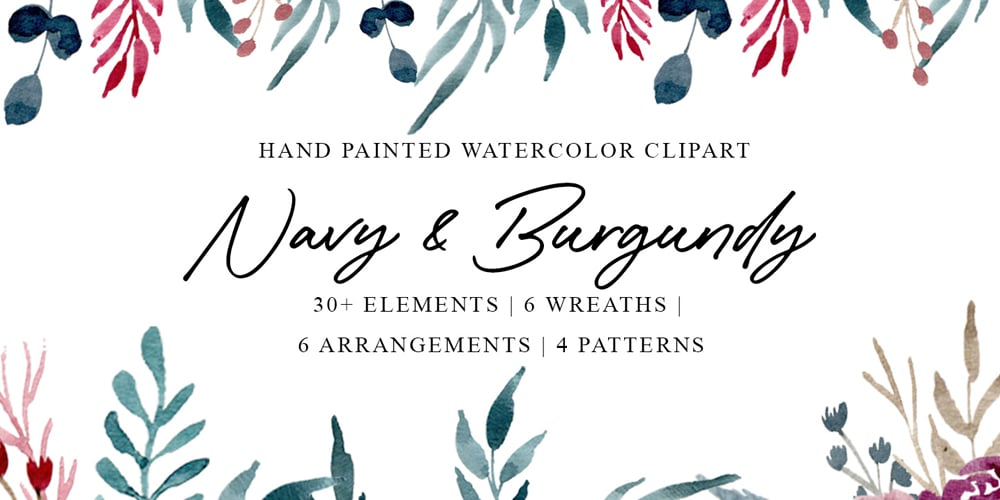 Navy and Burgundy Watercolor Graphics