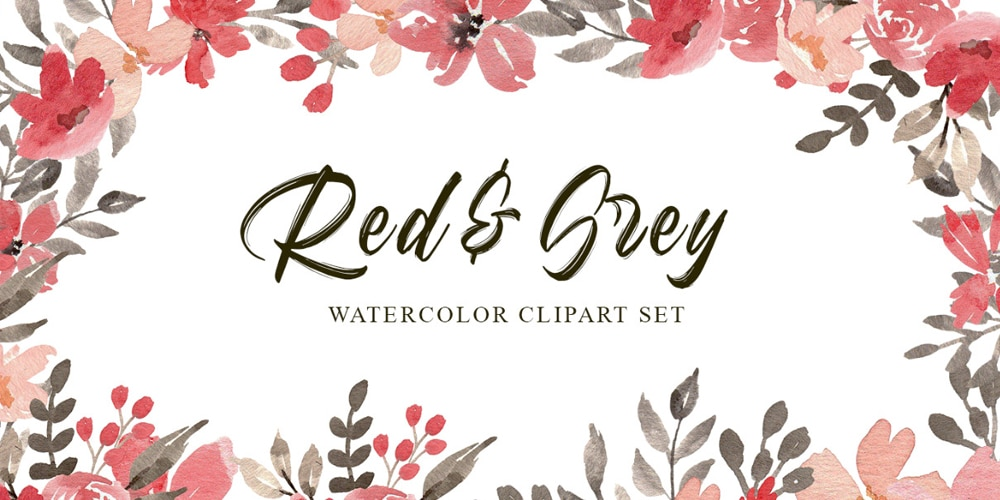 Red and Grey Flowers Watercolor Cliparts