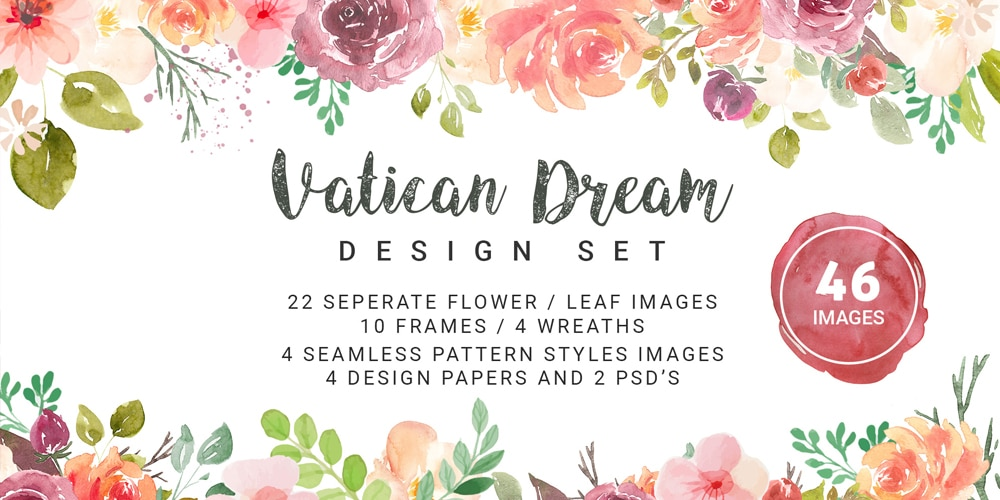 Vatican Dream Watercolor Vector Elements