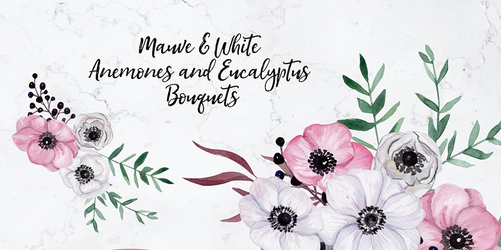 Watercolor Anemones Bouquets