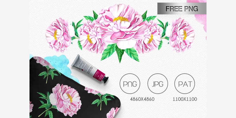 Free Watercolor Peony