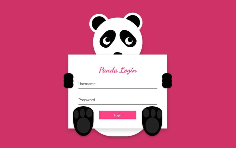 Panda Login Form