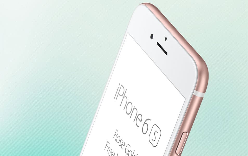 iPhone 6S Rose Gold free PSD mockup