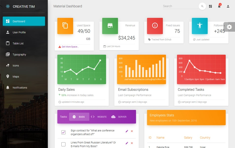 Material Dashboard React