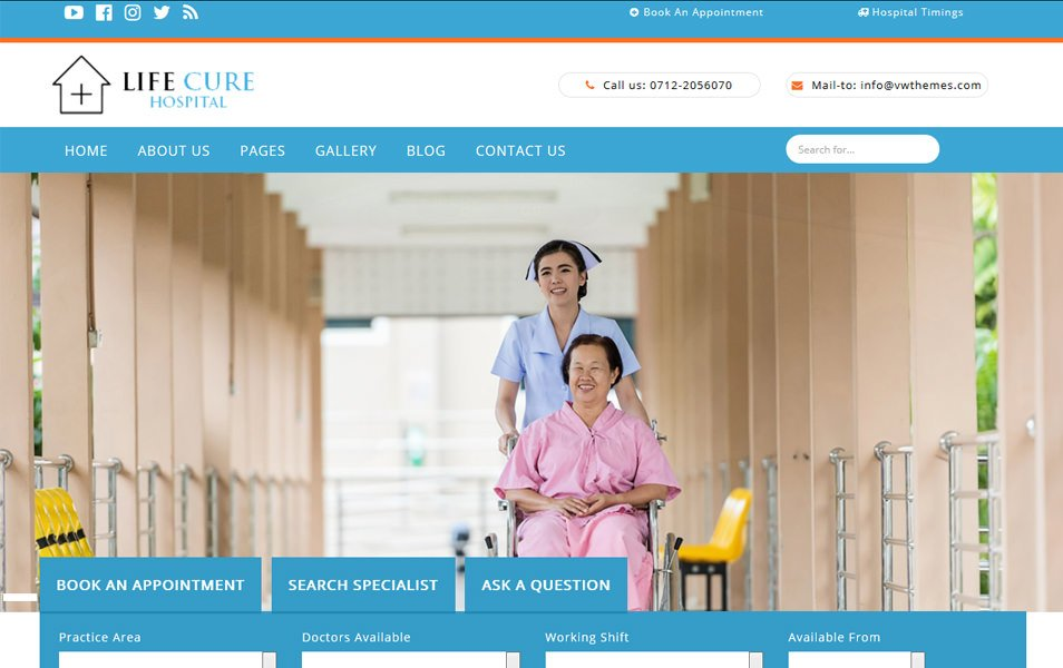 VW hospital Lite Responsive WordPress Theme