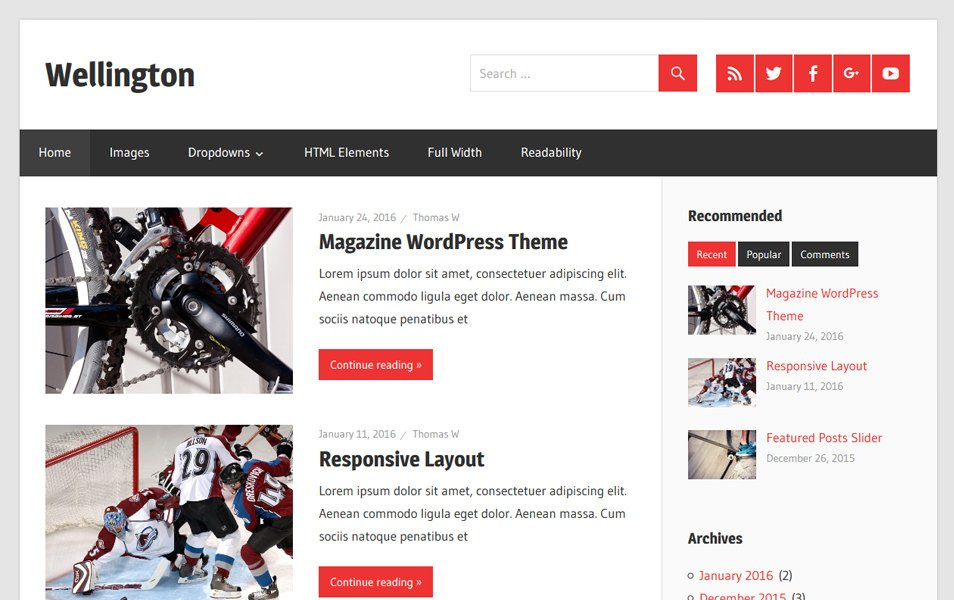 Wellington Responsive WordPress Theme