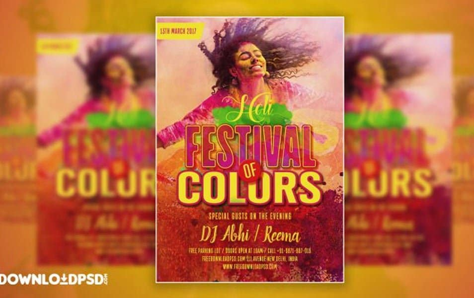 Free Happy Holi Festival Party Flyer PSD
