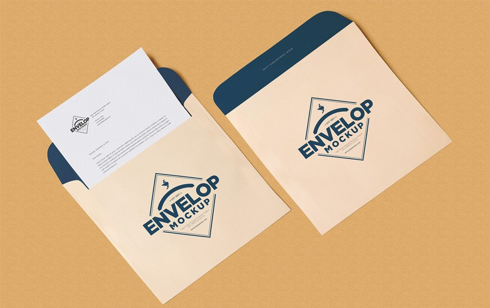 Free Unique Squared Shaped Envelope PSD Mockup