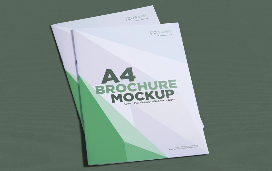 Gorgeous Free A4 Brochure Mockup In Portrait Layout