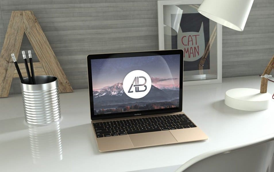 Realistic Gold 12-Inch Macbook Mockup