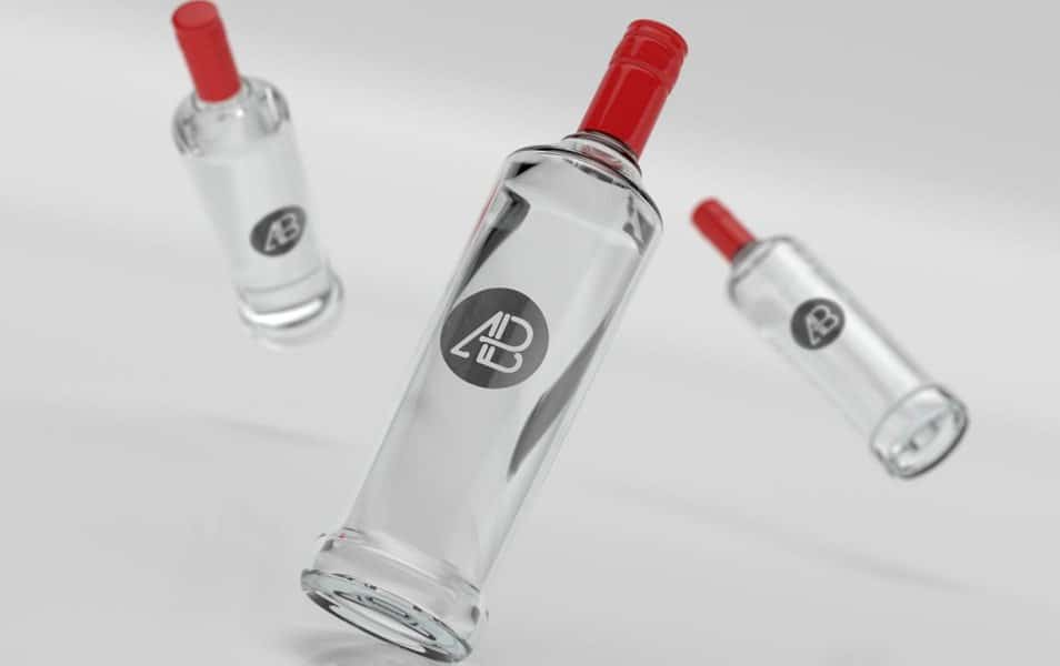 Realistic Vodka Bottle Branding Mockup