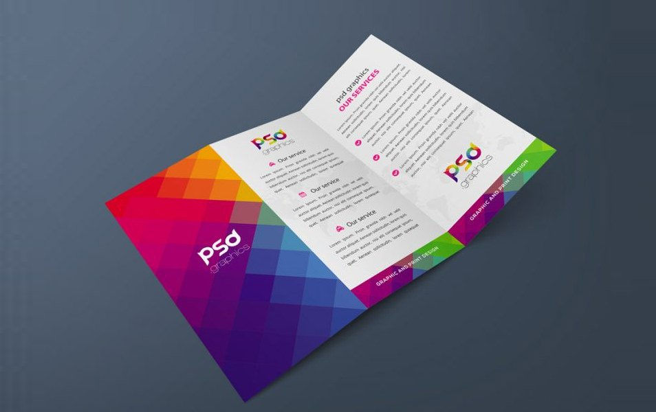 TriFold Brochure Mockup Free PSD Graphics