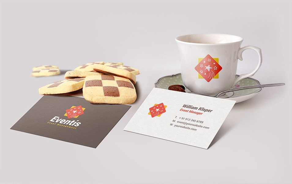 Business Card And Coffee Cup Scene Mockup PSD