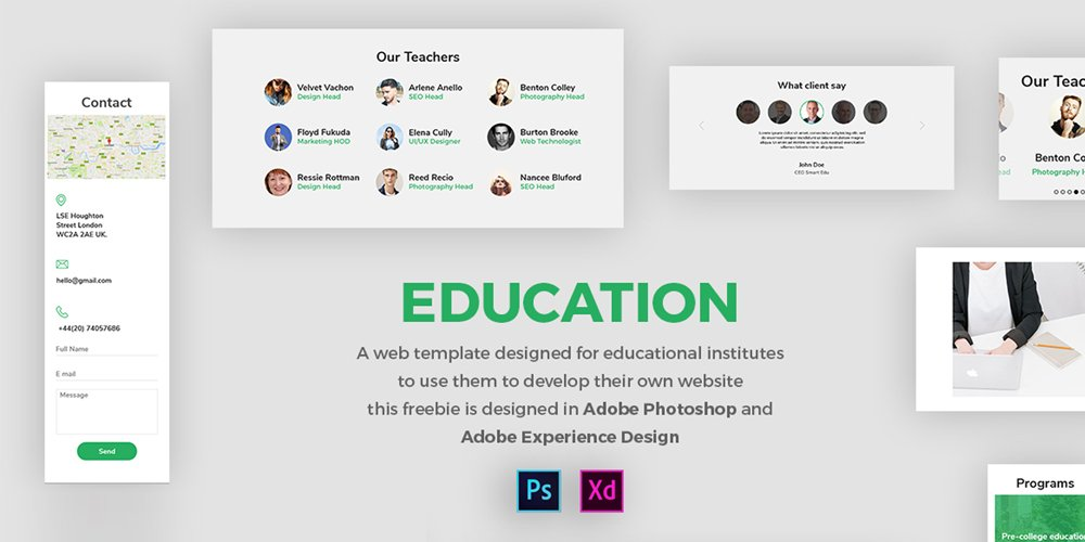 Download Template Adobe XD Untuk Website Design - Garuda Pixel
