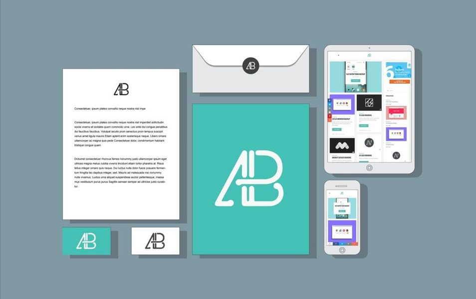 Flat 2D Branding and Identity Mockup