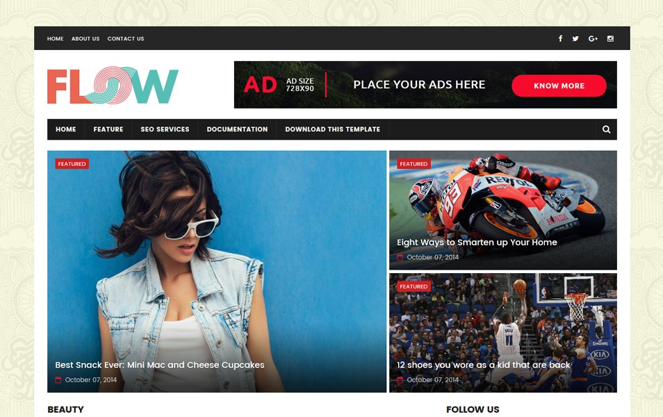 Flow Magazine Responsive Blogger Template
