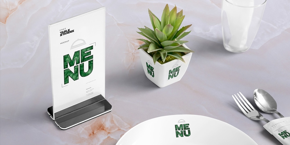 Free Table Menu Mockup Scene PSD