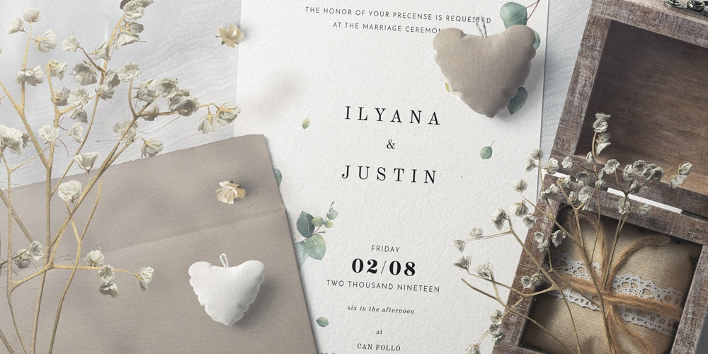 Invitation Card And Envelopes With Plush Hearts Mockup