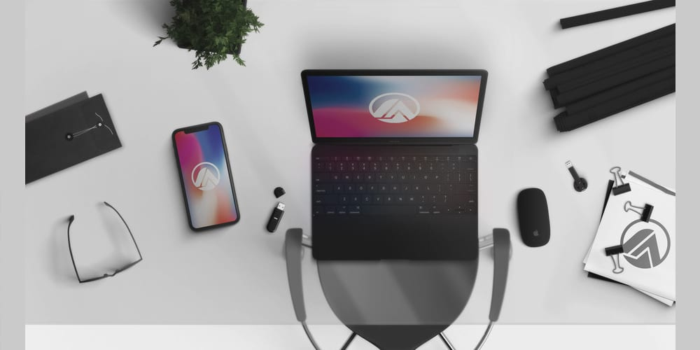 Macbook and iPhone X Black Scene Creator Mockup PSD