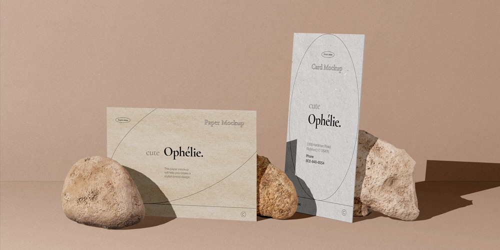 Papers and Card Mockups with Stones