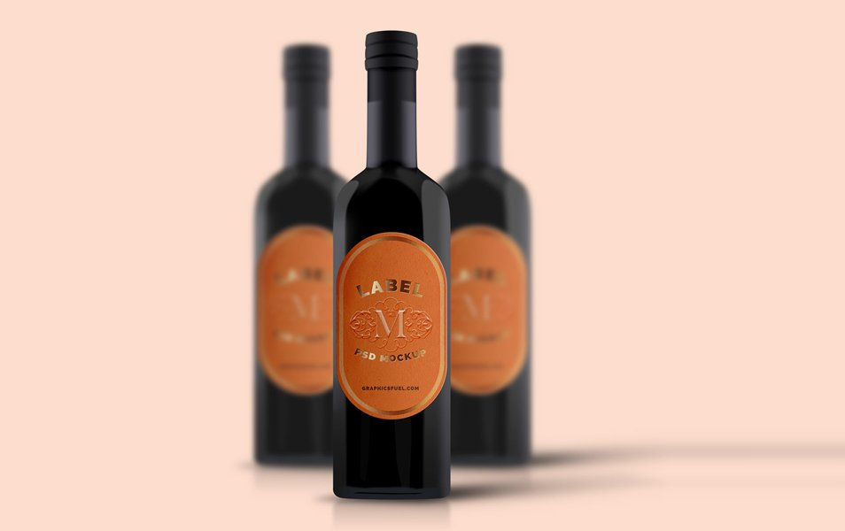 Wine Bottle Mockup PSD
