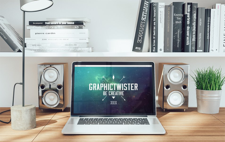 Workspace Mockup With Speakers