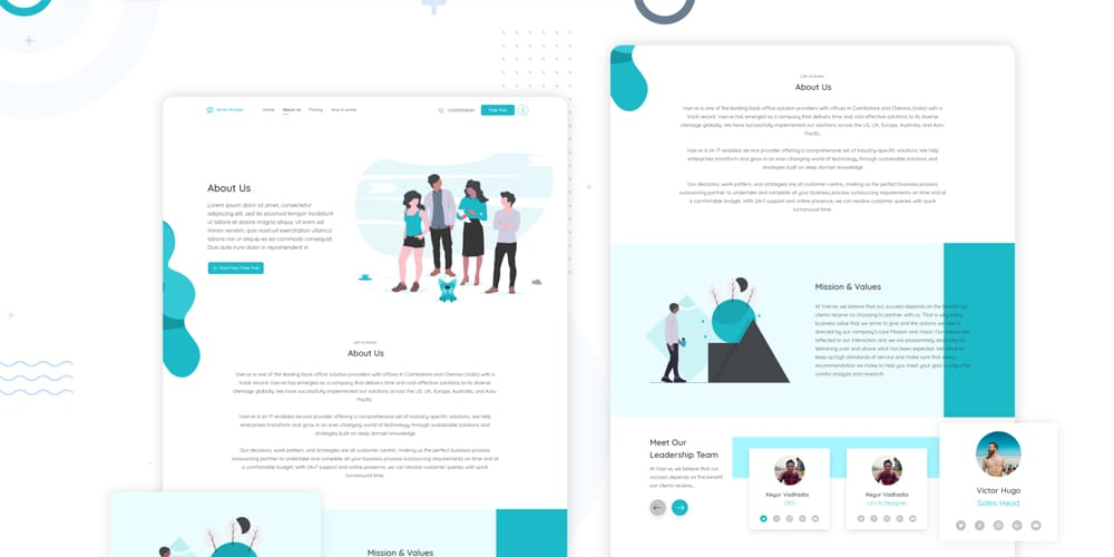 About Us UI Design for Corporate Template