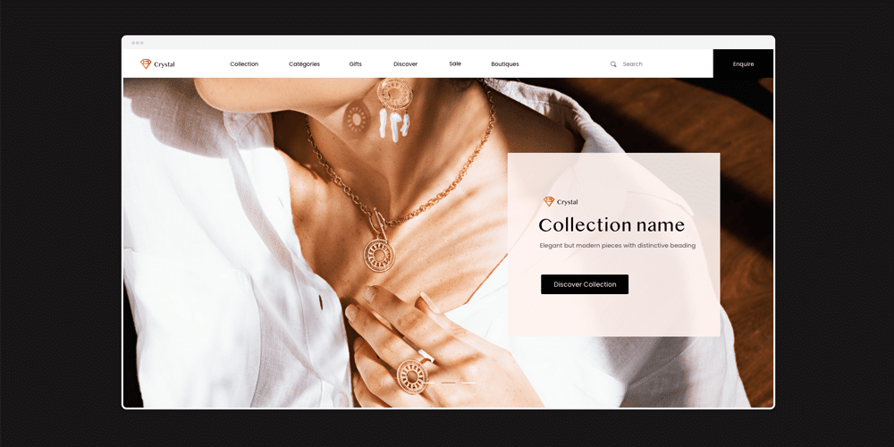 Jewellery Web Template With Wireframe