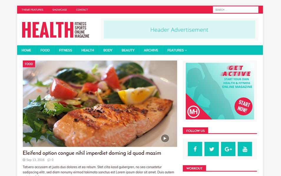 MH HealthMag Responsive WordPress Theme