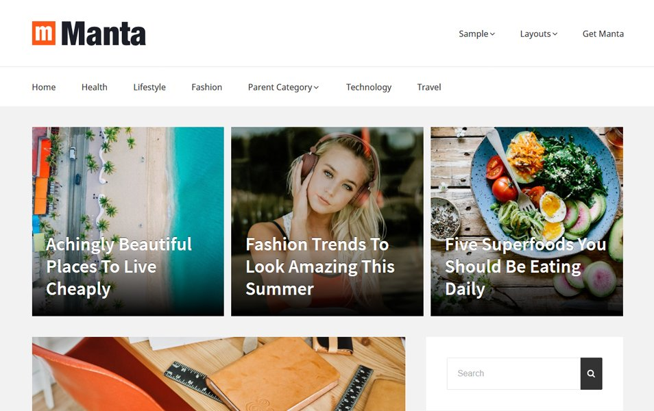 Manta Responsive WordPress Theme