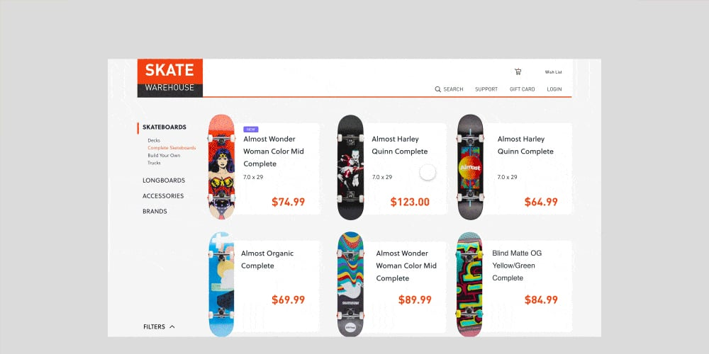 Skate Shop e-Commerce Website Interaction Template