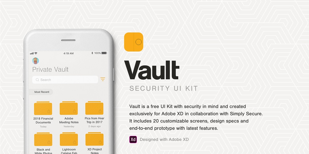 Vault Security UI kit for XD