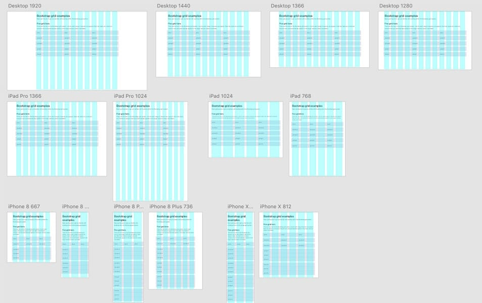 Adobe XD Grid Templates