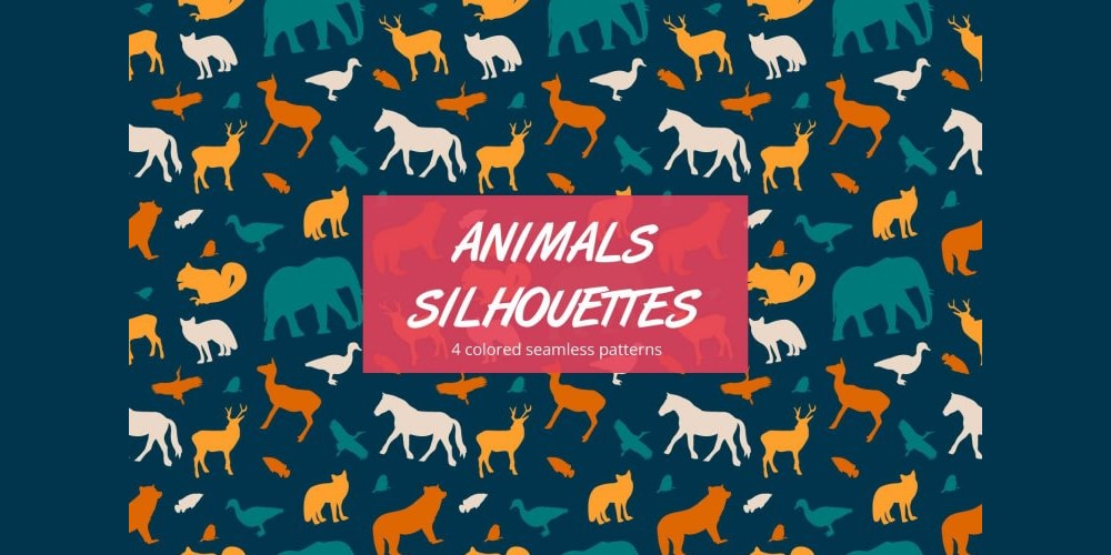 Animal Silhouettes Vector Pattern