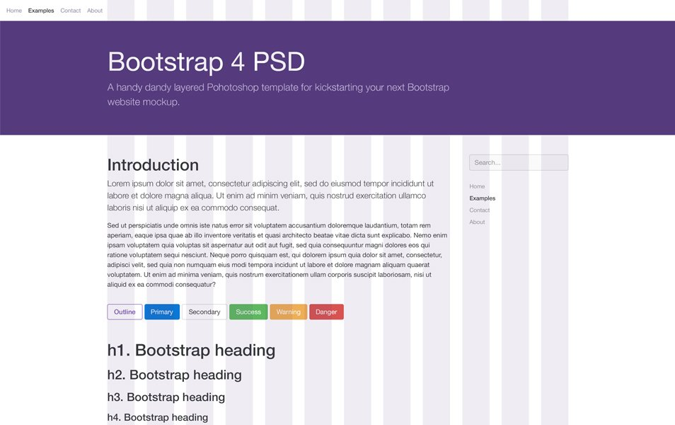 Bootstrap 4 PSD Template