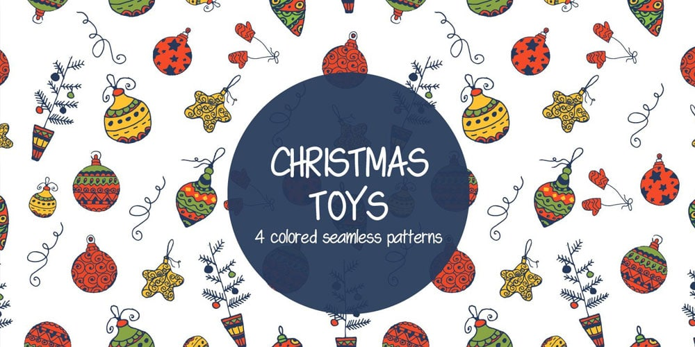 Christmas Toys Illustration Vector Pattern